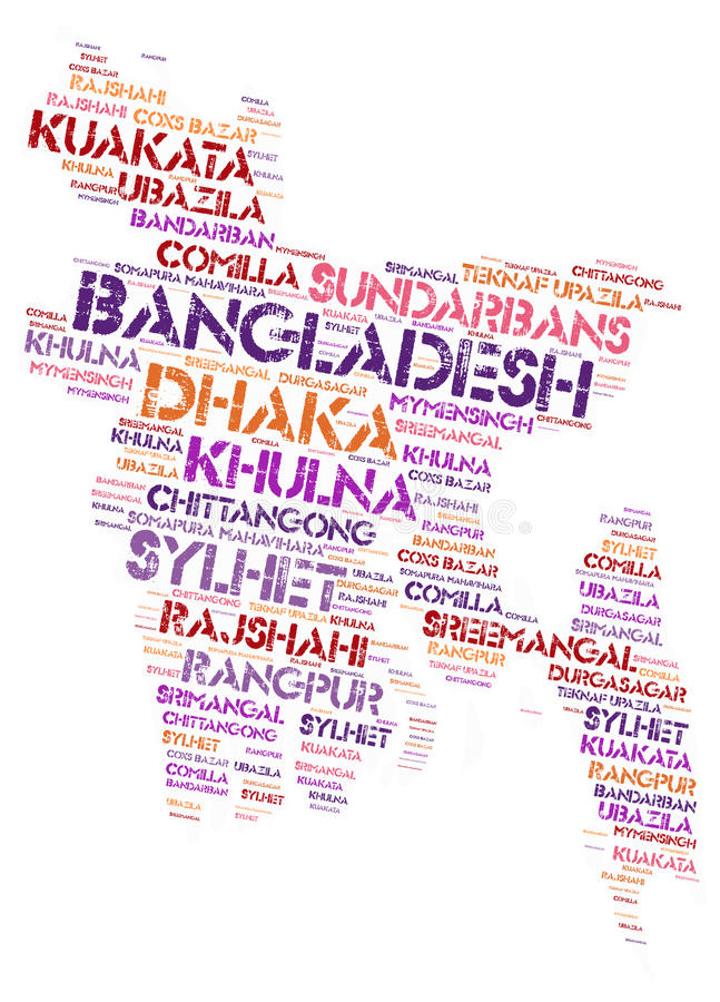Bangladesh top travel destinations word cloud. Bangladesh Map silhouette word cloud with most popular travel destinations stock illustration