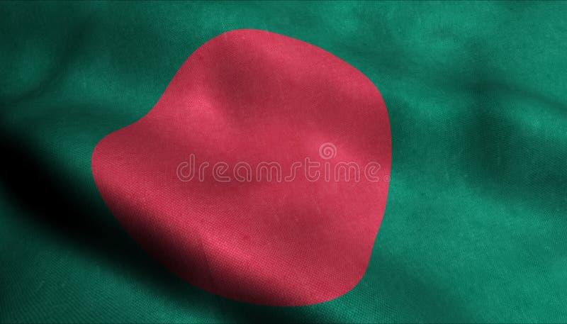 Bangladesh vinkande flagga i 3D royaltyfri illustrationer