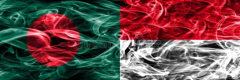 Bangladesh vs Monaco rök sjunker den förlade sidan - förbi - sidan Tjockt färgade silkeslena rökflaggor av Bangladesh och Monaco royaltyfri illustrationer