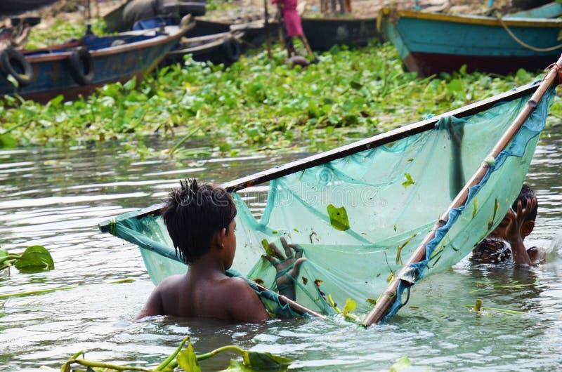 Bangladeshiska barn i floden med fisknät fotografering för bildbyråer