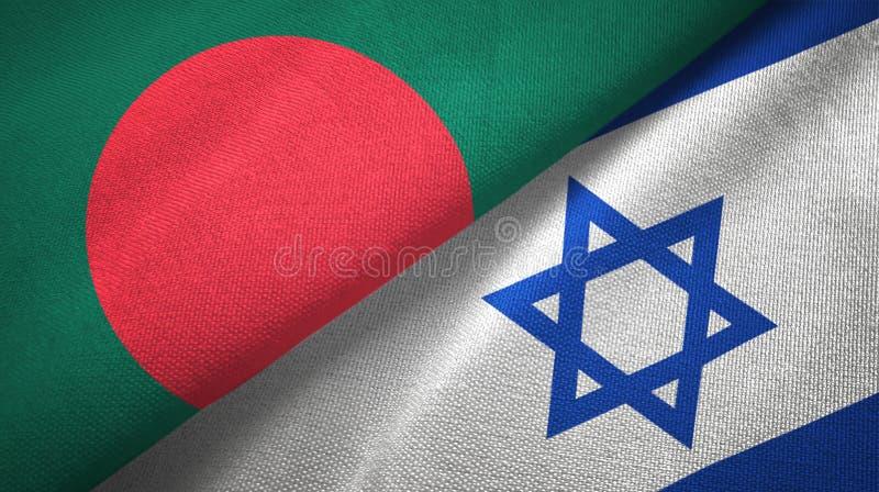 Bangladesz i Izrael dwa flagi tekstylny p??tno, tkaniny tekstura royalty ilustracja