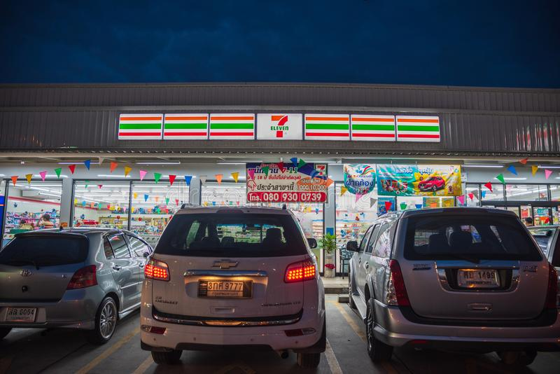 Banglamung,春武里市/Thailand - 2018年4月22日:7十一商店b 免版税库存图片
