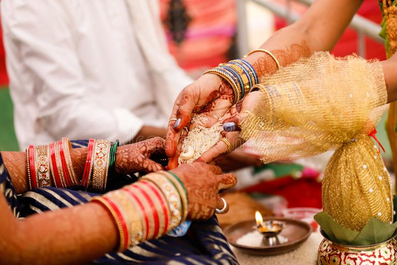 Bangles bride hand royalty free stock photography