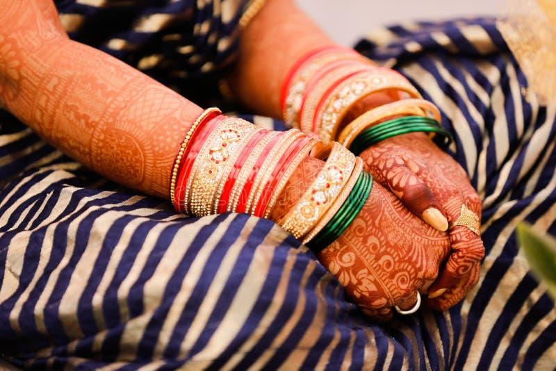 Bangles bride hand stock photo