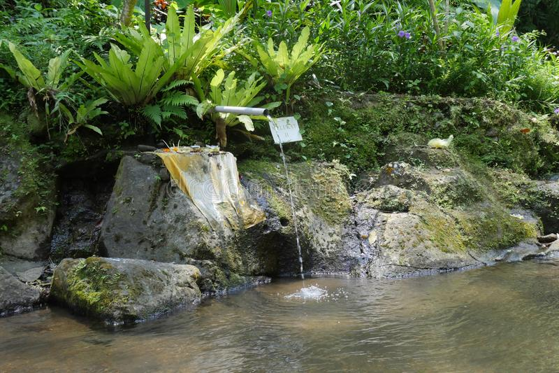 Water for purification ritual in Pura Tirta Sudamala, Bangli, Bali. Bangli, Indonesia-September 18,2017: Water for purification ritual in Pura Tirta Sudamala royalty free stock photos