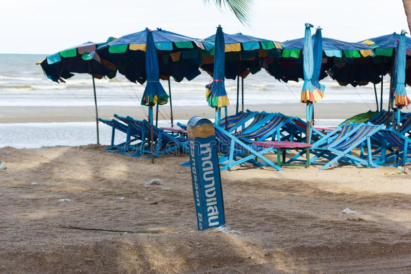 Bangsaen beach with beach chair. stock images
