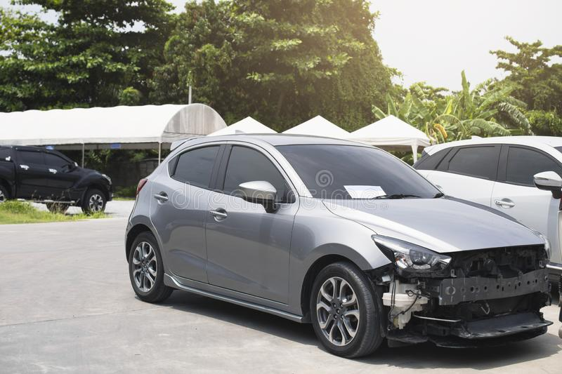 BANGSAEN,THAILAND 2019 This mazda silver car waiting for repair on car dealership in garage parked in showroom of automobile. Automotive for insurance stock photography