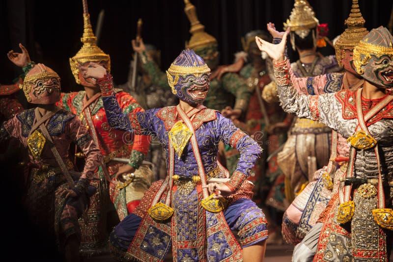 BANGUECOQUE TAILÂNDIA - 7 de agosto irmãos do hanuman de uma parte de Praram foto de stock royalty free