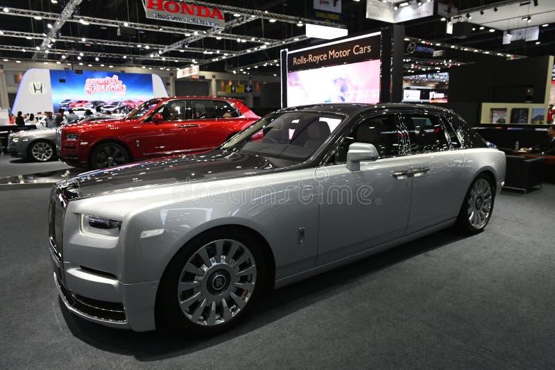 Banguecoque, Tailândia - 3 de dezembro de 2018: Rolls novo Royce Phantom 2019 na expo grande 2018 do motor de Banguecoque da feir fotos de stock