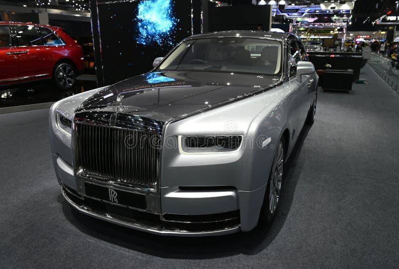 Banguecoque, Tailândia - 3 de dezembro de 2018: Rolls Royce 2019 fantasma novo na expo grande 2018 do motor de Banguecoque da fei fotos de stock