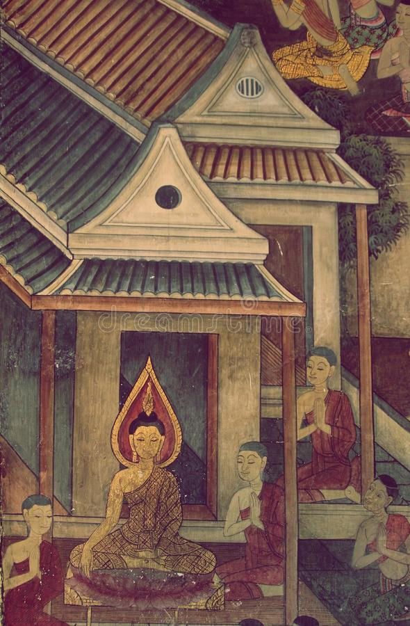 BANGUECOQUE, TAILÂNDIA - 25 DE JANEIRO DE 2016: Pintura mural tailandesa antiga da vida da Buda na parede do templo no temp de Su foto de stock