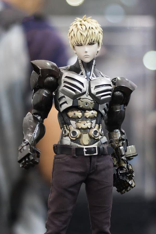 Banguecoque, Tailândia - 6 de maio de 2017: Caráter de Genos ou do modelo realístico do robô no anime um homem do perfurador na e foto de stock royalty free