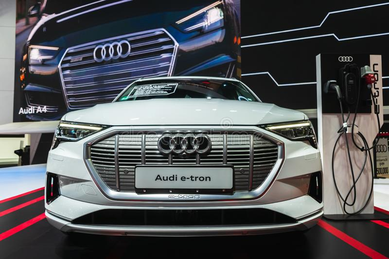 Banguecoque, Tailândia - 31 de março de 2019: Carro eletrônico do conceito do veículo de Audi e-Tron GT na exposição na 40t fotos de stock