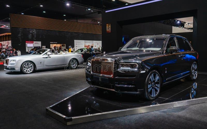 Banguecoque, Tailândia - 31 de março de 2019: Carro luxuoso fabricado por carros de motor de Rolls royce na exposição na Bang imagens de stock royalty free