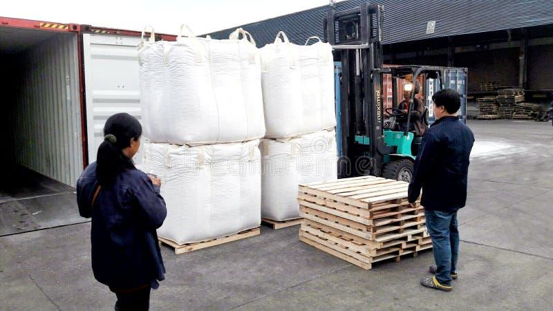 Banguecoque, Tailândia 16 de setembro de 2017: Os trabalhadores puseram o saco enorme sobre a pálete que espera para ser carregad imagem de stock