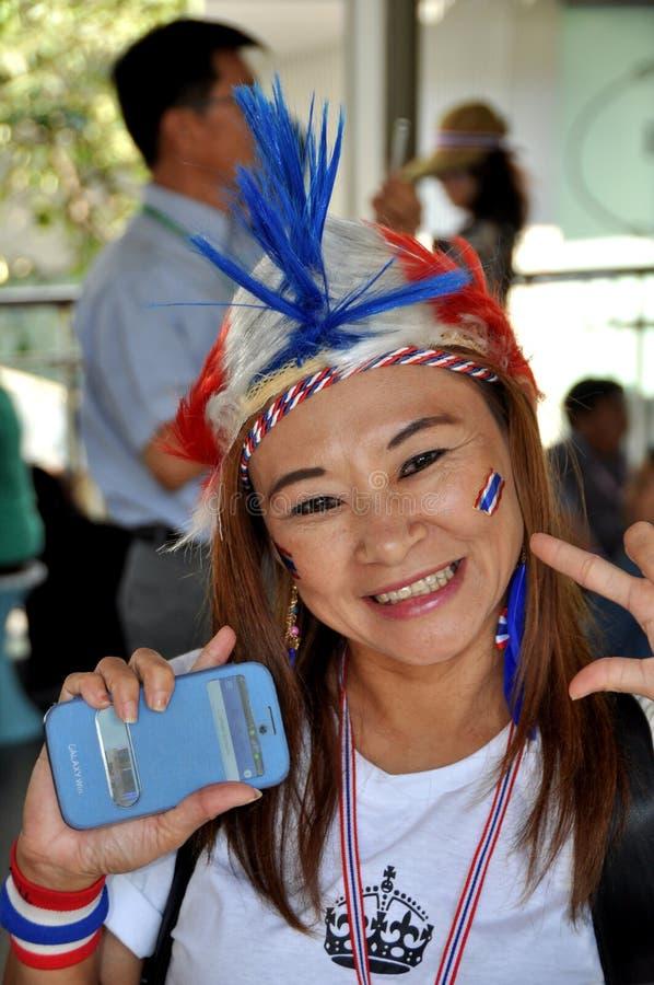 Banguecoque, Tailândia: Demonstrador tailandês no protesto interrompido de Banguecoque imagem de stock royalty free