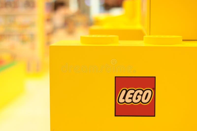 Banguecoque Tailândia em setembro de 2018: Loja de brinquedos de Lego foto de stock royalty free