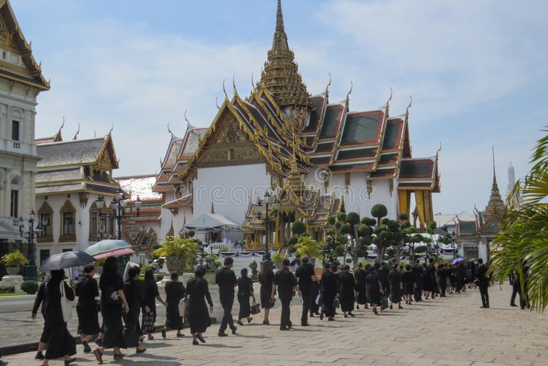Banguecoque, Tailândia, o 22 de novembro, morte 2the do rei Bhumibol Adulyadej, Rama IX fotos de stock royalty free