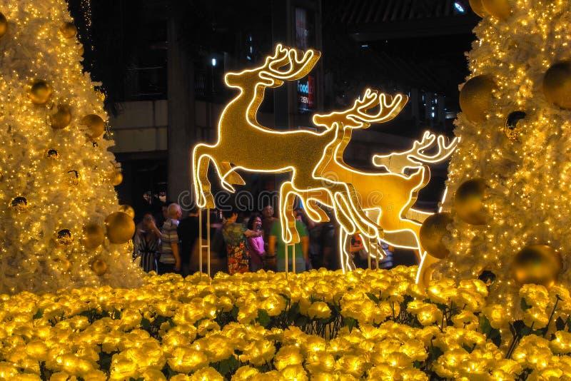 BANGUECOQUE TAILÂNDIA - 23 DE DEZEMBRO: Natal decorado com os cervos pelo Feliz Natal & o ano novo feliz 2017 na compra de Centra fotografia de stock royalty free