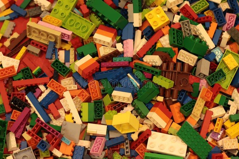 Banguecoque Tail?ndia em setembro de 2018: Fundo do brinquedo de Lego imagem de stock