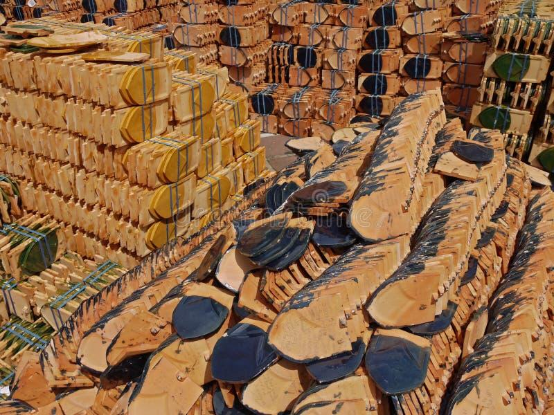Banguecoque - Wat Pho, telhas novas foto de stock royalty free