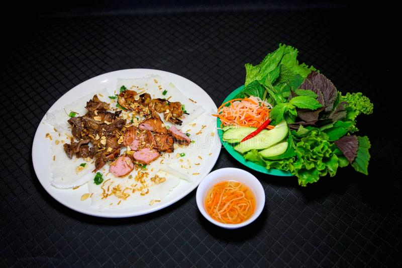 Banh hoi or Vietnamese soft thin vermicelli noodles with herbs a royalty free stock images