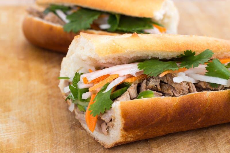Banh mi vietnamese pork sandwich royalty free stock image