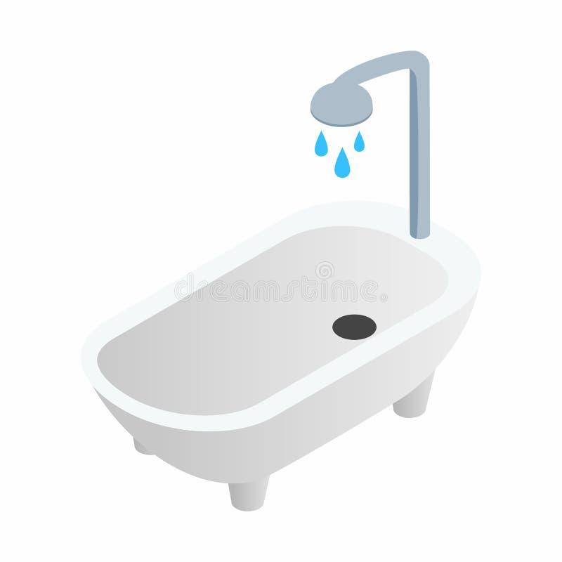 Banheira com ícone 3d isométrico do chuveiro ilustração do vetor