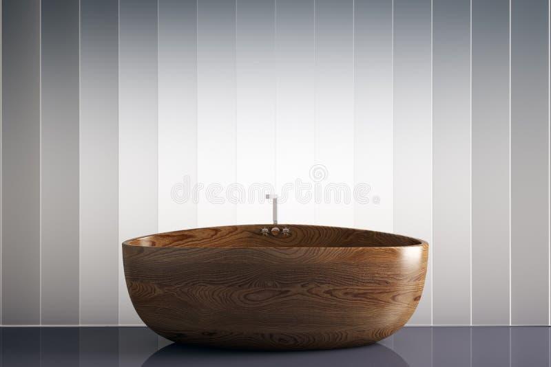 Banheira de madeira ilustração do vetor