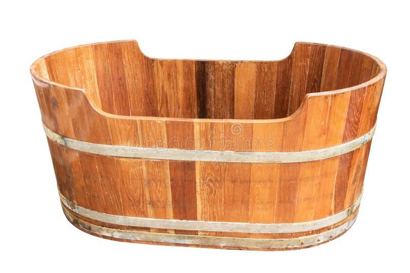 Banheira de madeira do vintage vazio isolada no fundo branco fotos de stock royalty free
