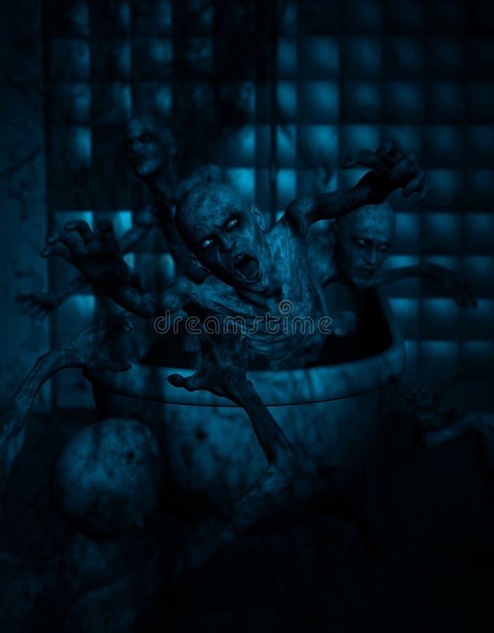 Banheira dos zombis ilustração stock