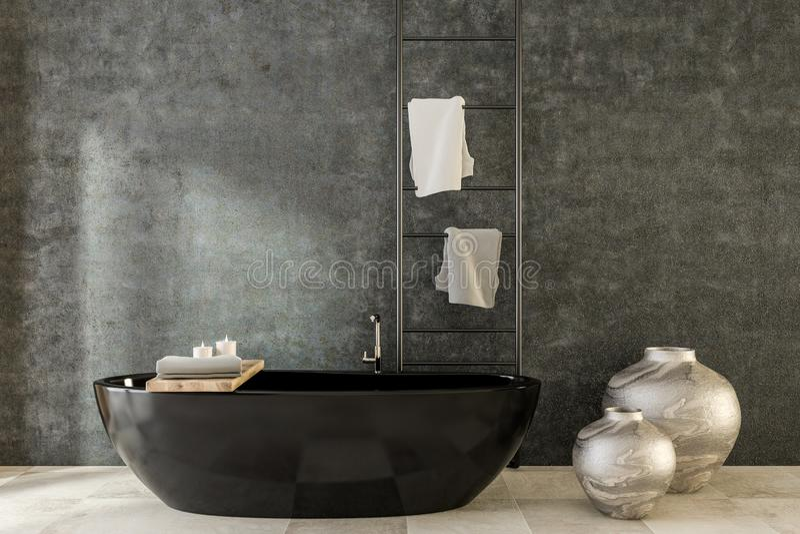 Banheira e vasos pretos, banheiro luxuoso dos termas ilustração stock