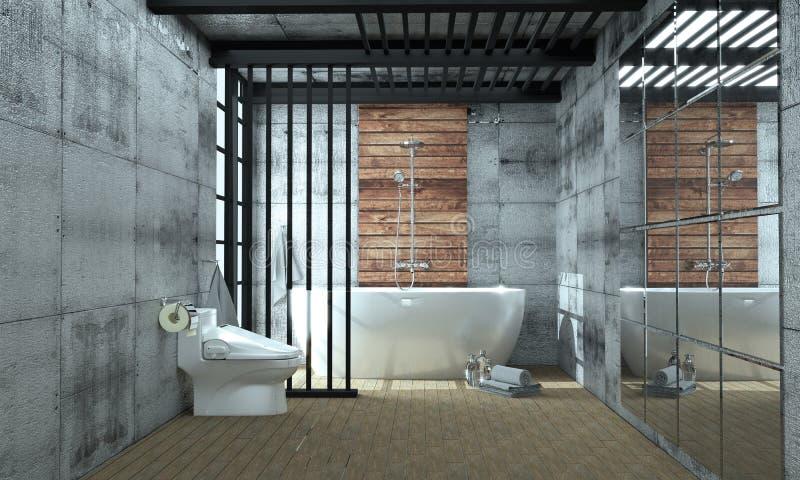 Banheira interior do banheiro no assoalho de azulejo no fundo da parede das telhas do granito - conceito branco vazio rendição 3d ilustração do vetor