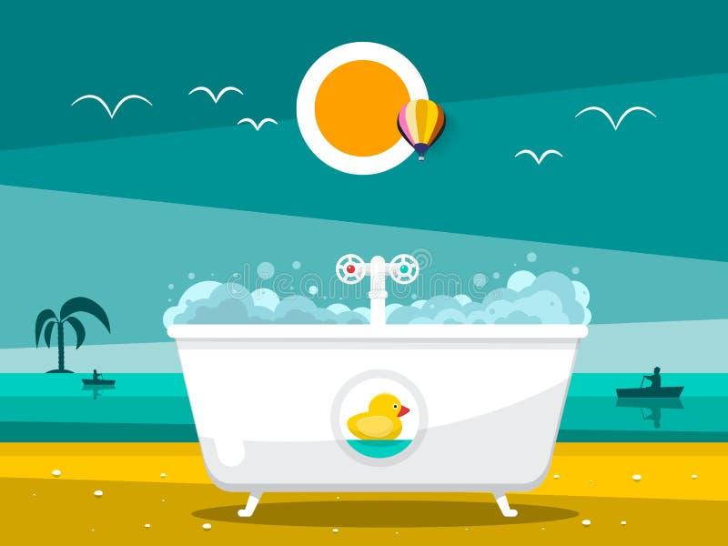 Banheira na praia com oceano ilustração stock