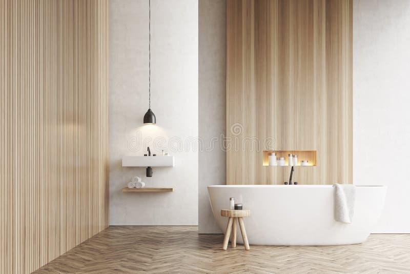 Banheira, um dissipador e uma cadeira, paredes brancas ilustração do vetor