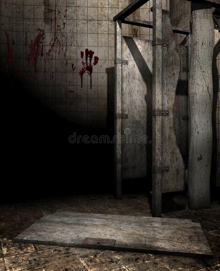 Banheiro abandonado ilustração stock