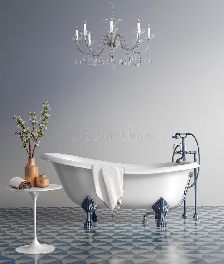 Banheiro azul com banheira do vintage ilustração do vetor