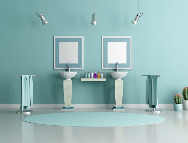 Banheiro azul e verde