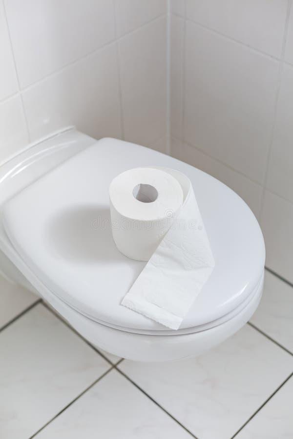 Banheiro branco com papel higiênico imagem de stock