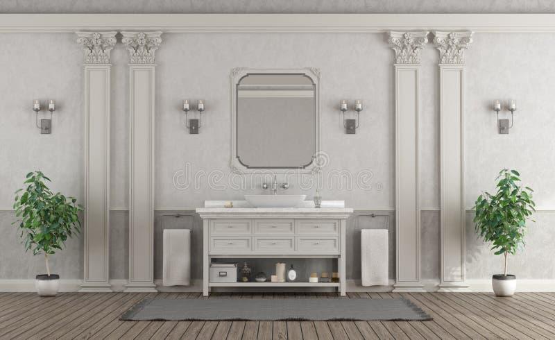 Banheiro branco e cinzento luxuoso da casa ilustração do vetor