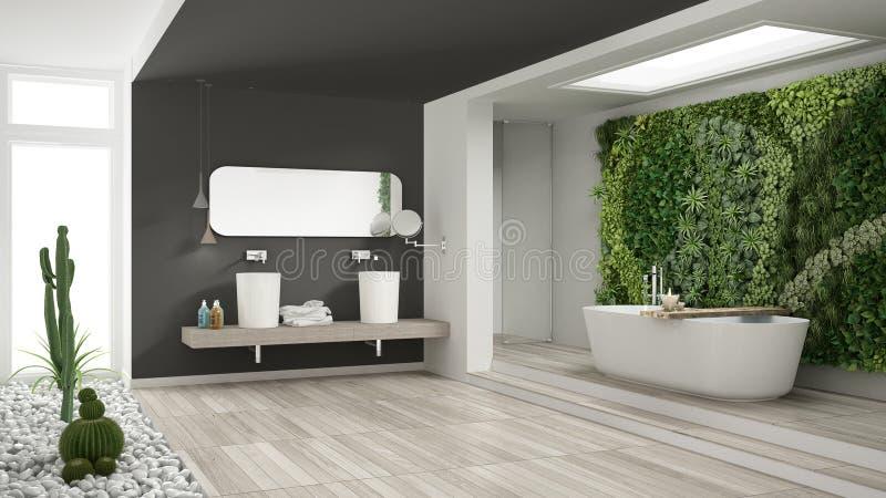 Banheiro branco e cinzento minimalista com vertical e a planta carnuda g imagens de stock royalty free