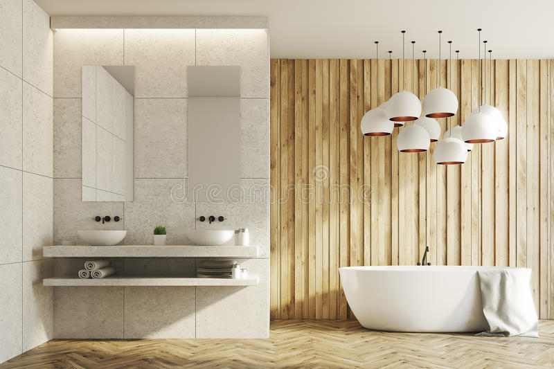 Banheiro branco e de madeira, dissipadores, cuba ilustração stock