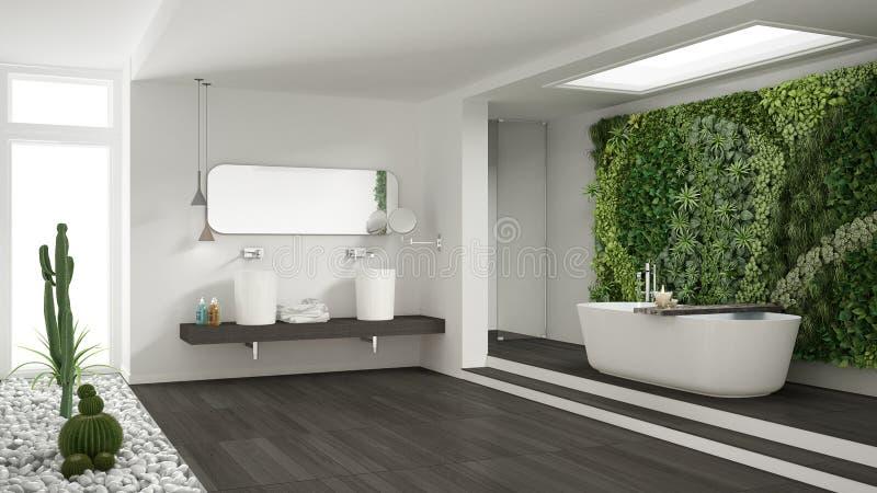 Banheiro branco minimalista com o jardim vertical e suculento, wo fotos de stock royalty free