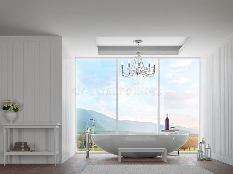 Banheiro branco moderno com imagem da rendição do Mountain View 3d ilustração stock