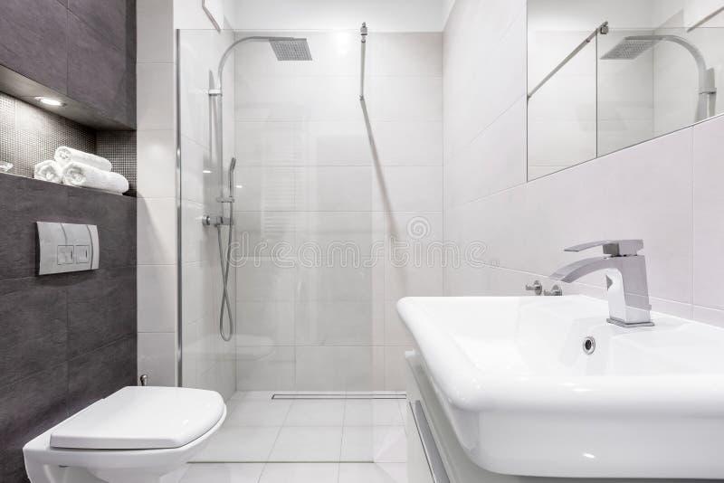 Banheiro cinzento e branco com chuveiro imagem de stock royalty free