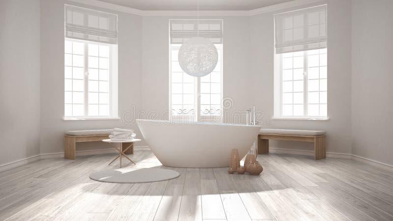 Banheiro clássico dos termas do zen com banheira, escandinavo minimalista mim ilustração stock