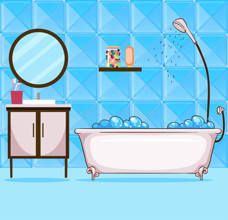 Banheiro com banheira e chuveiro ilustração stock