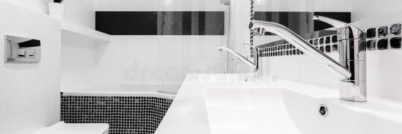 Banheiro com dois dissipadores, panorama fotografia de stock