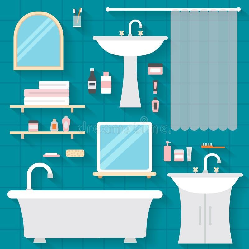Banheiro com mobília ilustração do vetor