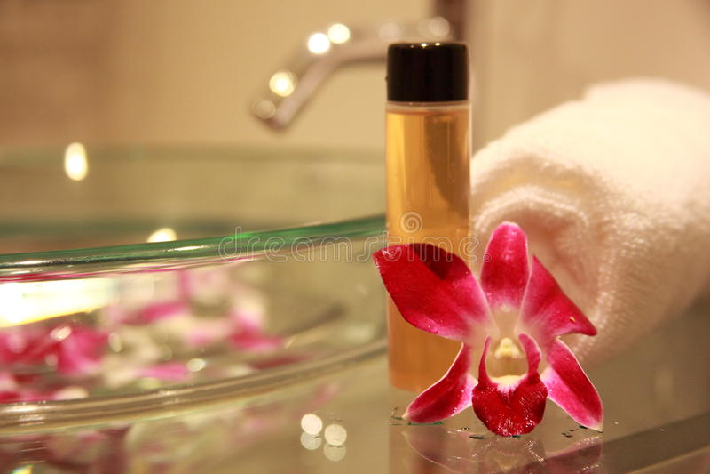 Banheiro Com Orquídea Fotografia de Stock